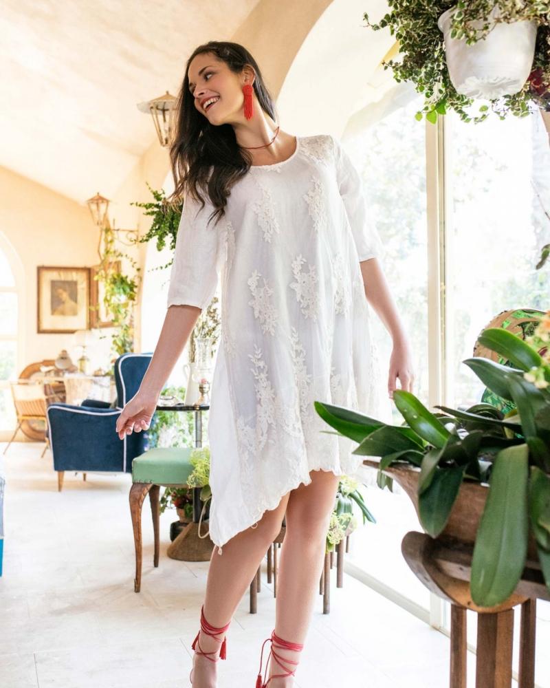 abito arenzano vestido lino encaje